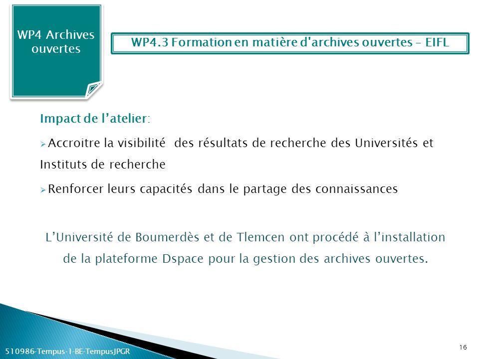 WP4.3 Formation en matière d archives ouvertes – EIFL