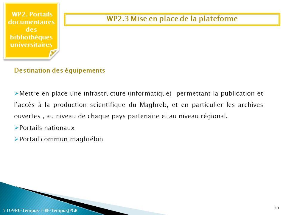 WP2.3 Mise en place de la plateforme