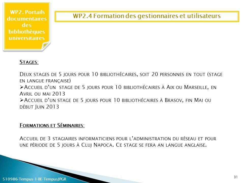 WP2.4 Formation des gestionnaires et utilisateurs