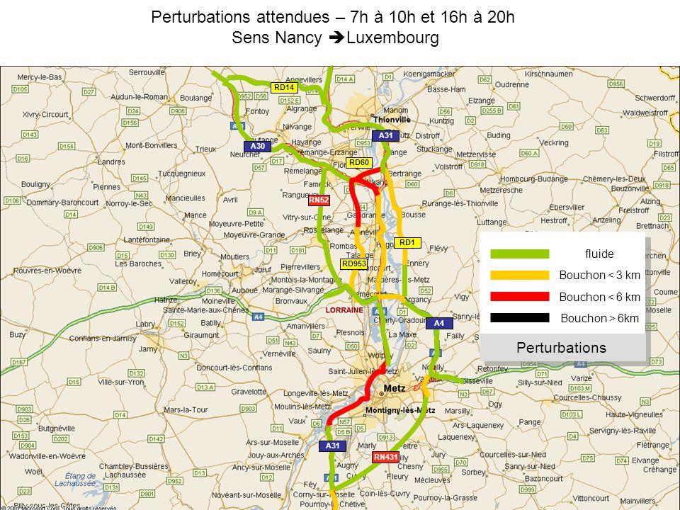 Perturbations attendues – 7h à 10h et 16h à 20h Sens Nancy Luxembourg