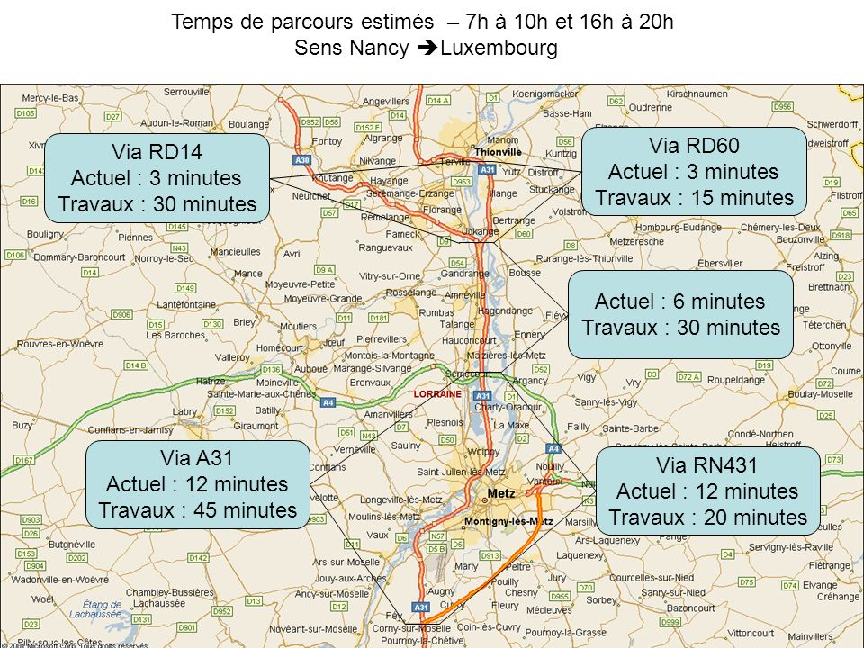 Temps de parcours estimés – 7h à 10h et 16h à 20h