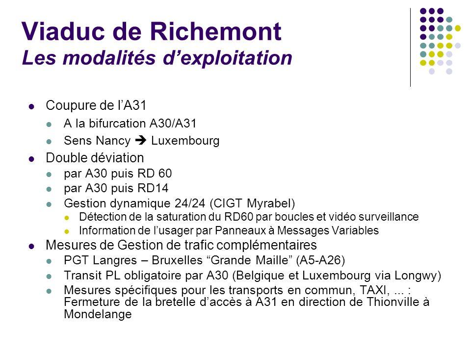 Viaduc de Richemont Les modalités d'exploitation