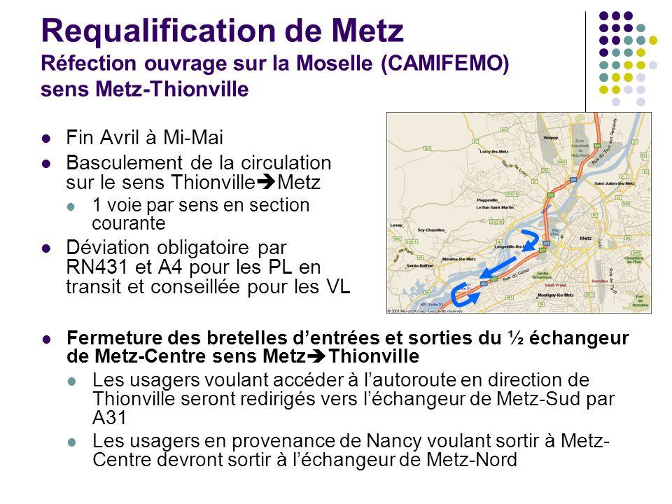 Requalification de Metz Réfection ouvrage sur la Moselle (CAMIFEMO) sens Metz-Thionville