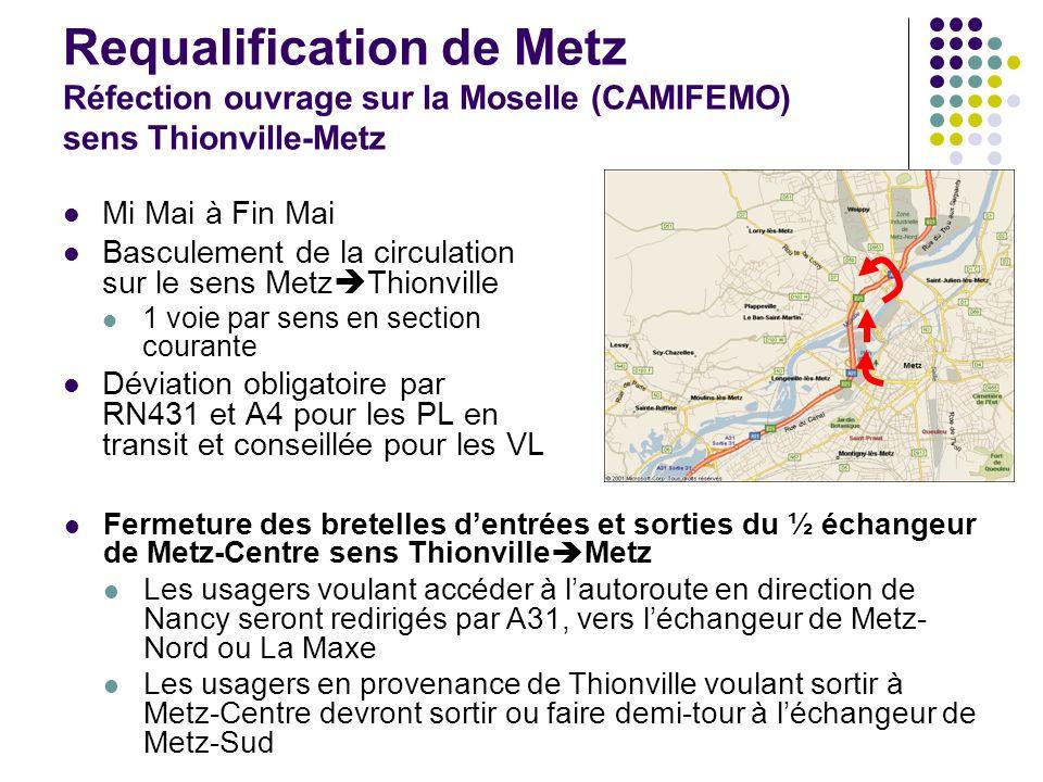 Requalification de Metz Réfection ouvrage sur la Moselle (CAMIFEMO) sens Thionville-Metz
