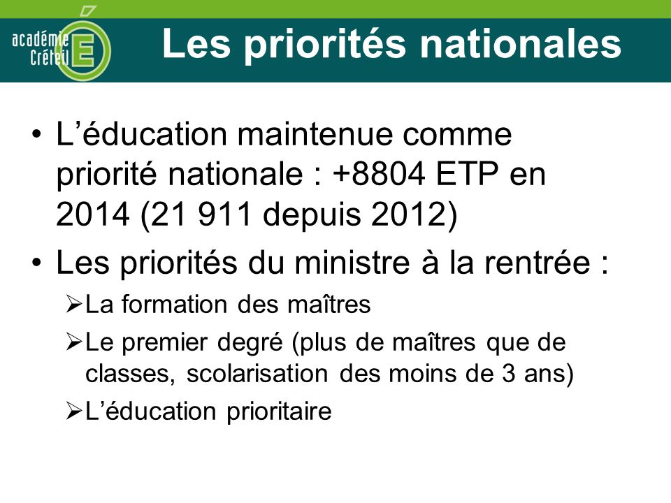 Les priorités nationales