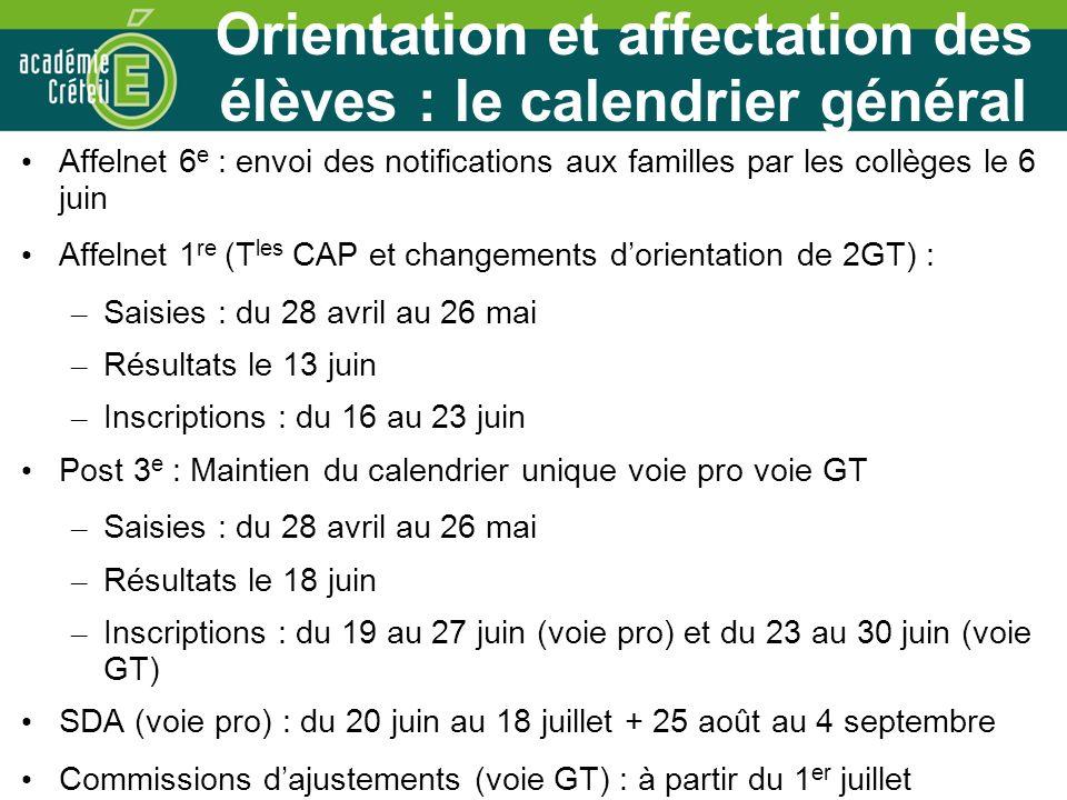 Orientation et affectation des élèves : le calendrier général