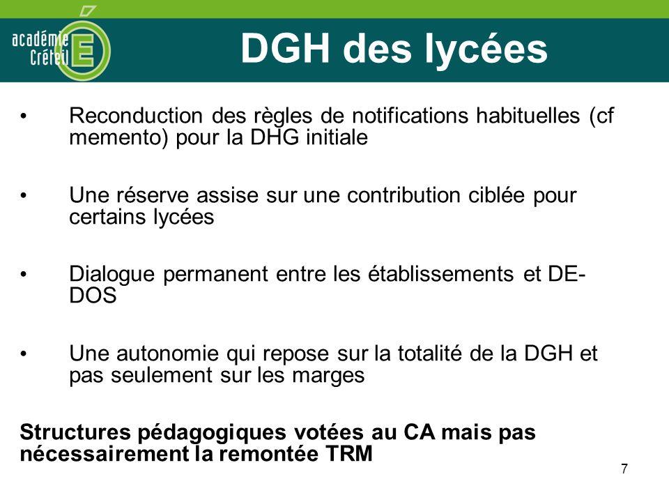 DGH des lycées Reconduction des règles de notifications habituelles (cf memento) pour la DHG initiale.
