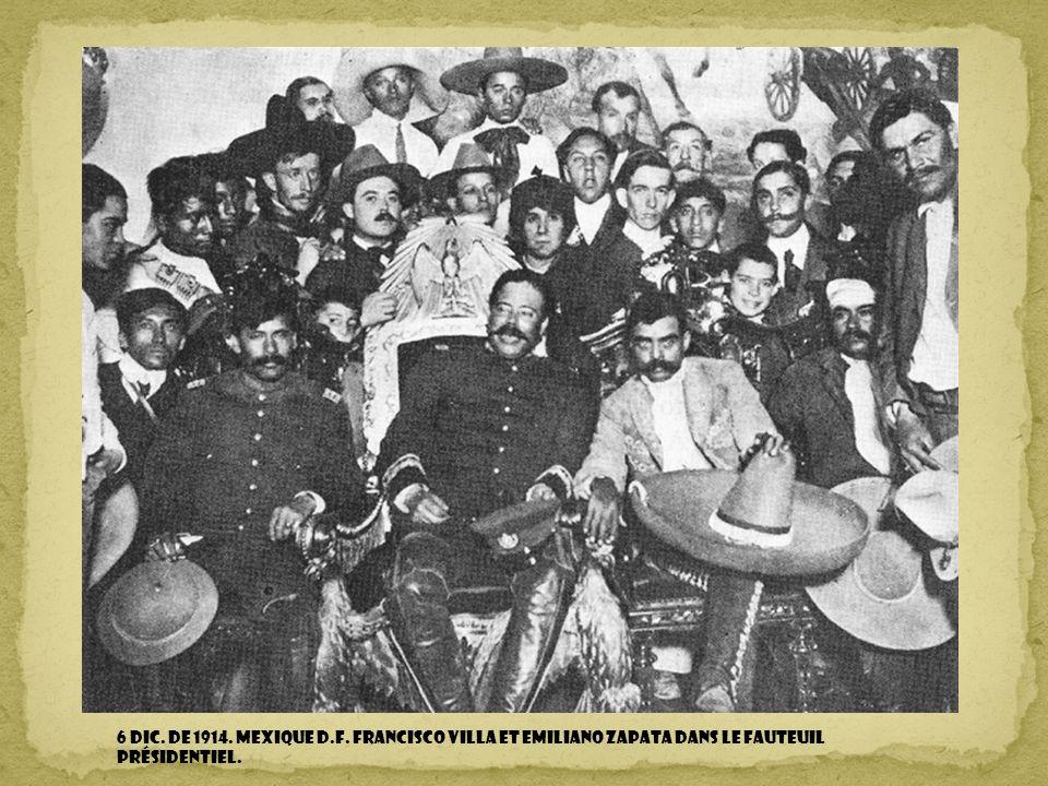 6 DIC. DE 1914. MEXIQUE D.F. Francisco Villa et Emiliano Zapata dans le fauteuil présidentiel.