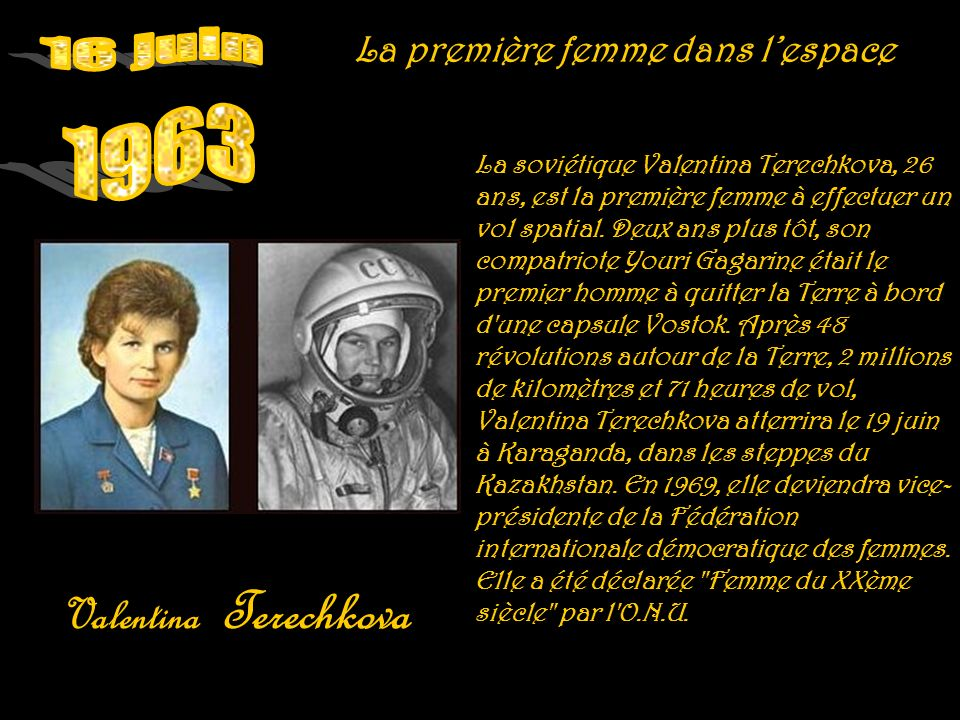 16 juin 1963 Valentina Terechkova La première femme dans l'espace