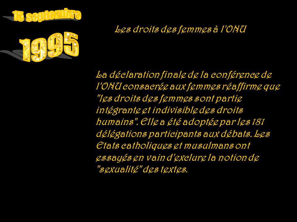 15 septembre 1995 Les droits des femmes à l ONU