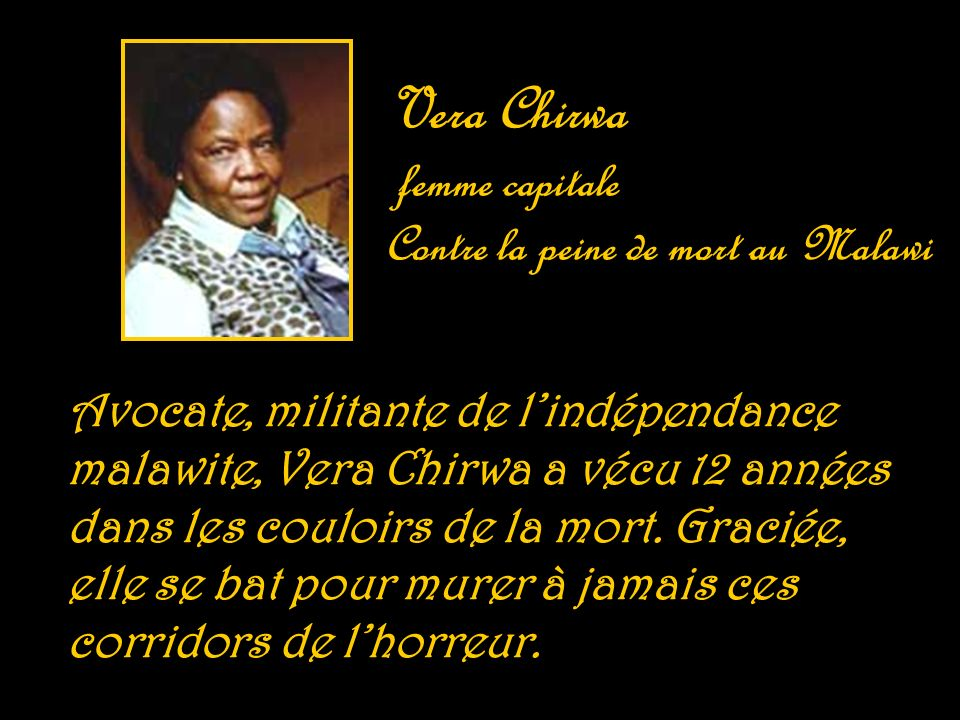 Vera Chirwa femme capitale Contre la peine de mort au Malawi
