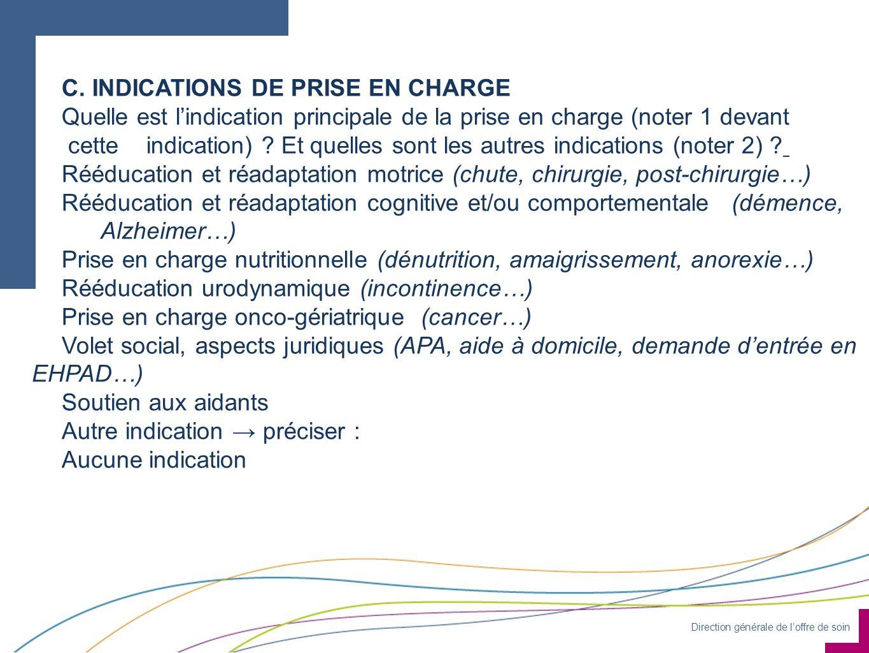 C. INDICATIONS DE PRISE EN CHARGE