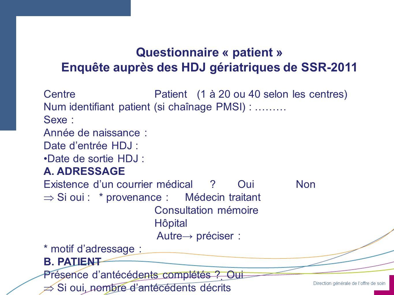 Enquête auprès des HDJ gériatriques de SSR-2011
