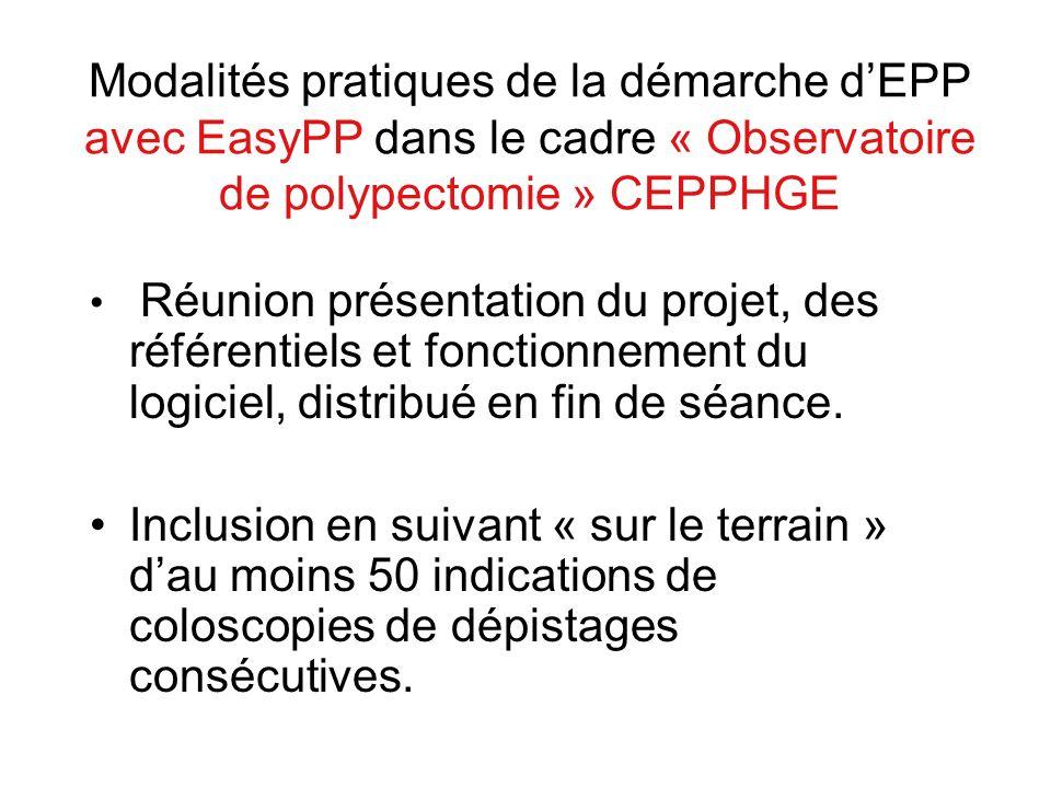 Modalités pratiques de la démarche d'EPP avec EasyPP dans le cadre « Observatoire de polypectomie » CEPPHGE