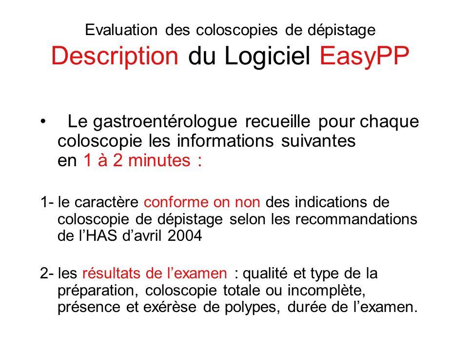 Evaluation des coloscopies de dépistage Description du Logiciel EasyPP