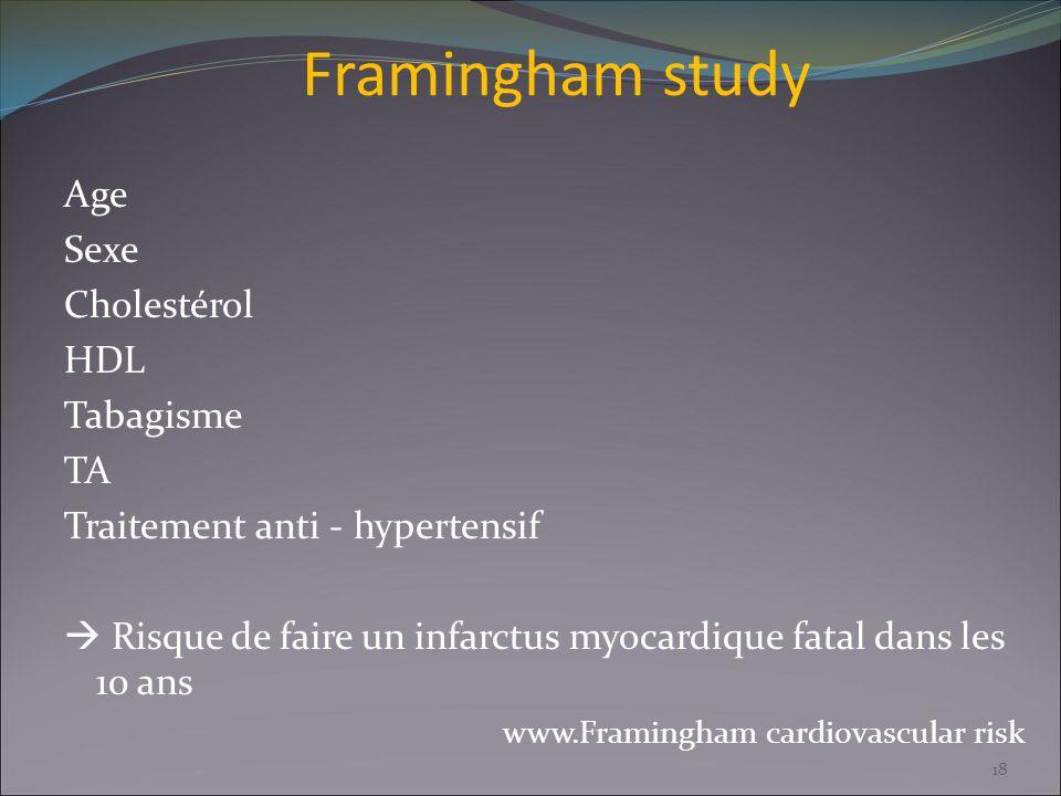 Framingham study Age Sexe Cholestérol HDL Tabagisme TA