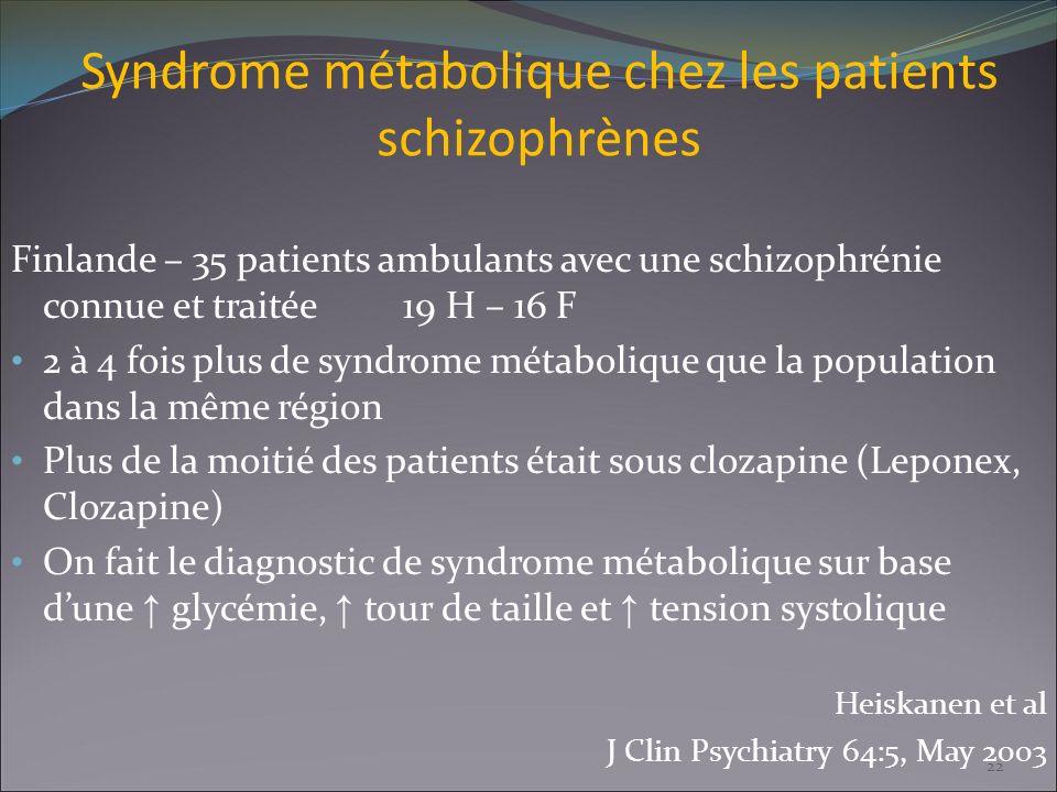 Syndrome métabolique chez les patients schizophrènes