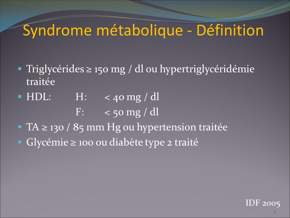 Syndrome métabolique - Définition