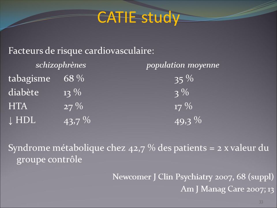 CATIE study Facteurs de risque cardiovasculaire: