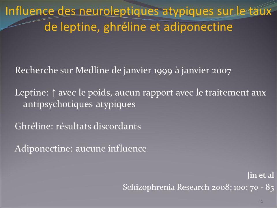 Influence des neuroleptiques atypiques sur le taux de leptine, ghréline et adiponectine