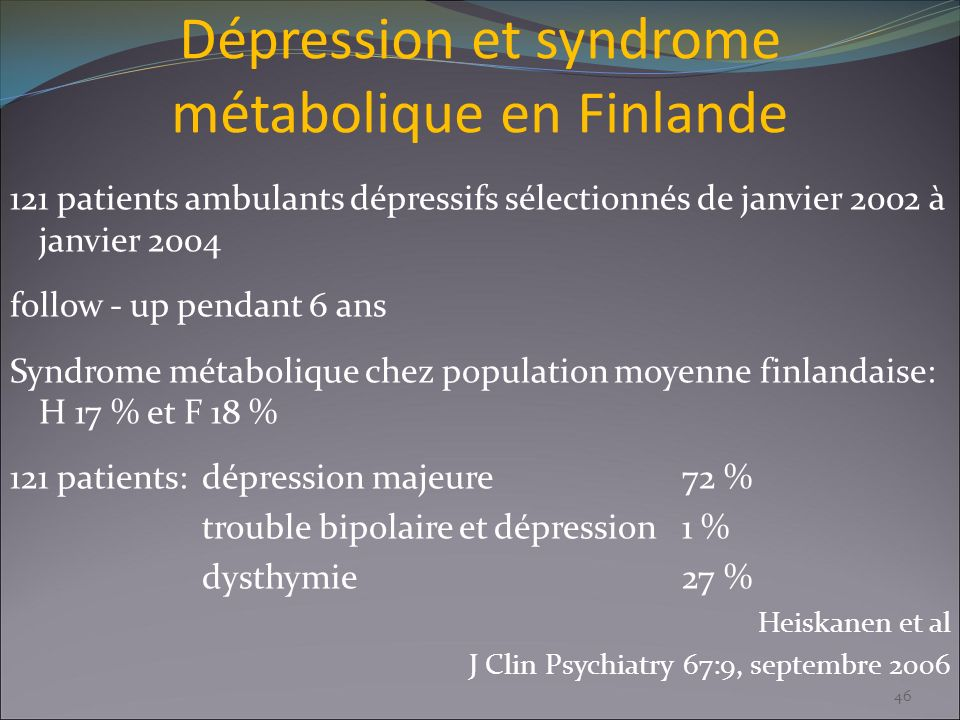Dépression et syndrome métabolique en Finlande