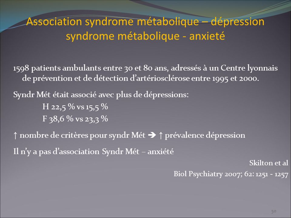 Association syndrome métabolique – dépression syndrome métabolique - anxieté