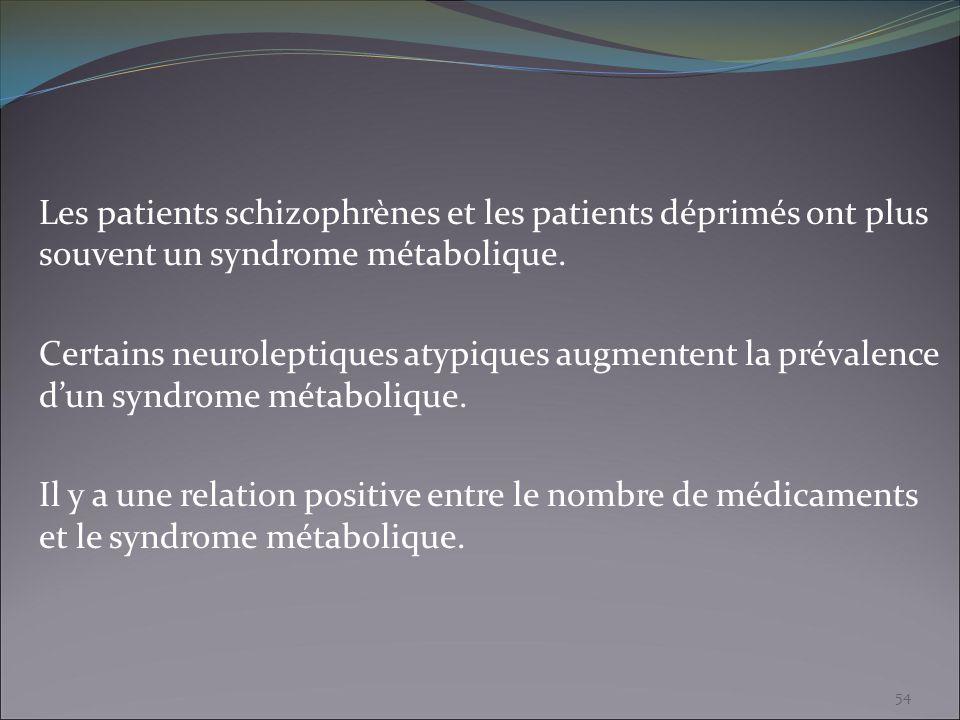 Les patients schizophrènes et les patients déprimés ont plus souvent un syndrome métabolique.