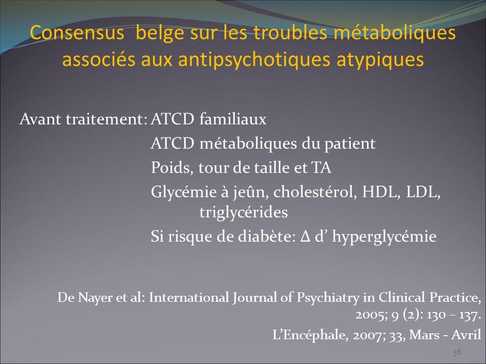 Consensus belge sur les troubles métaboliques associés aux antipsychotiques atypiques