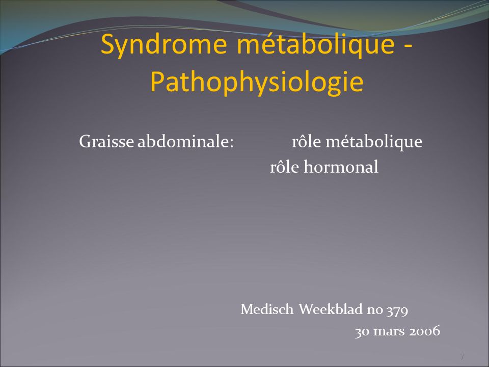 Syndrome métabolique - Pathophysiologie