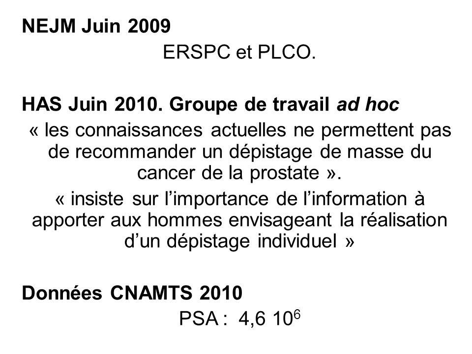 NEJM Juin 2009 ERSPC et PLCO. HAS Juin 2010. Groupe de travail ad hoc.