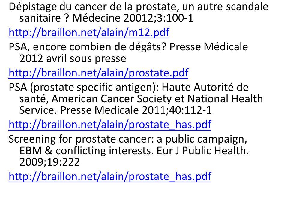Dépistage du cancer de la prostate, un autre scandale sanitaire