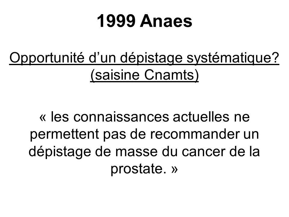 Opportunité d'un dépistage systématique (saisine Cnamts)