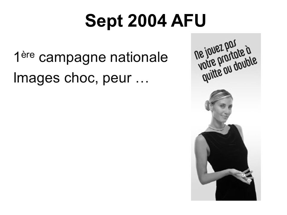 Sept 2004 AFU 1ère campagne nationale Images choc, peur …