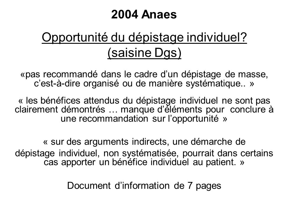 Opportunité du dépistage individuel (saisine Dgs)