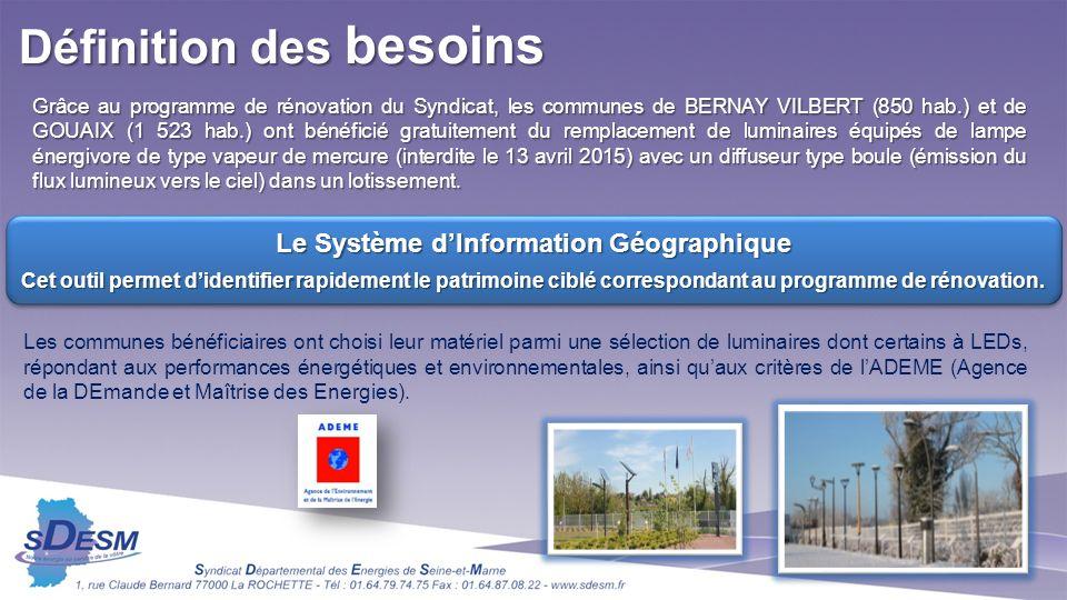 Définition des besoins Le Système d'Information Géographique