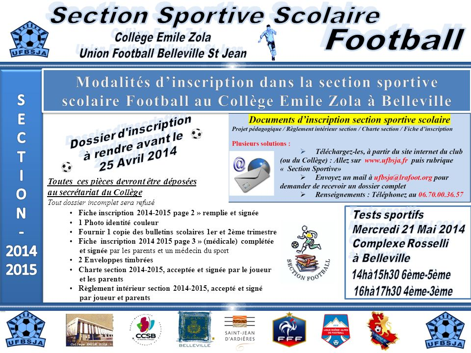 Section Sportive Scolaire Football Collège Emile Zola