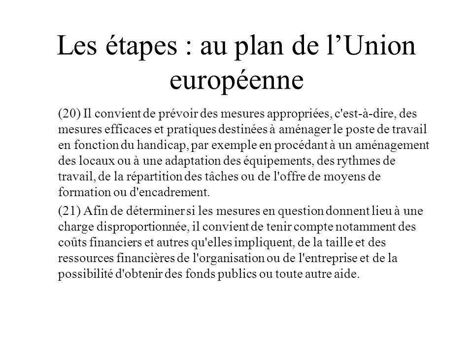 Les étapes : au plan de l'Union européenne