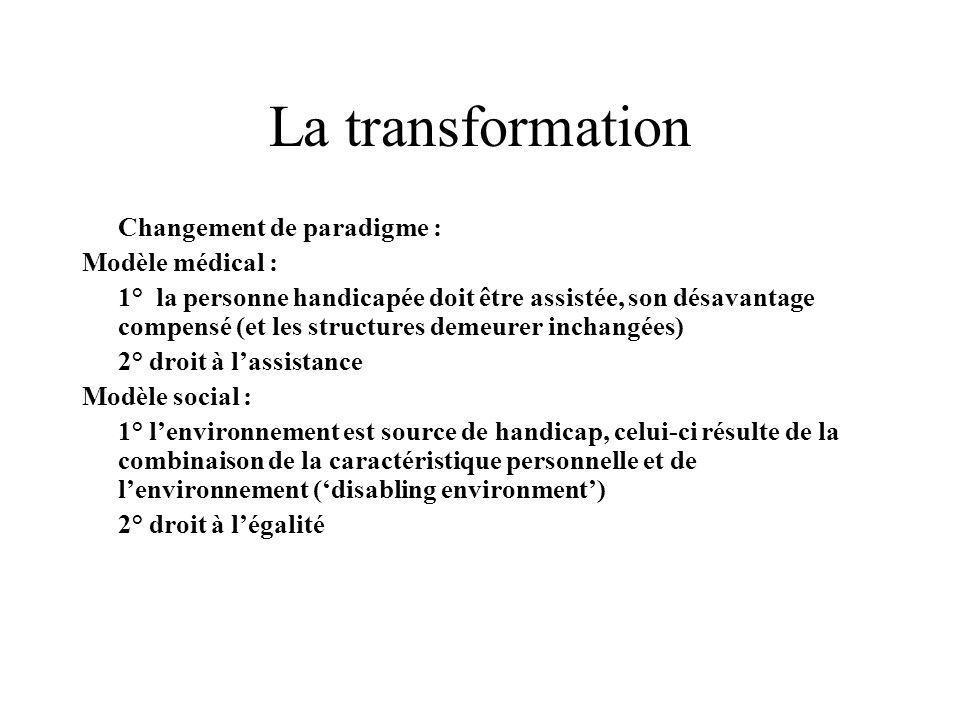 La transformation Changement de paradigme : Modèle médical :