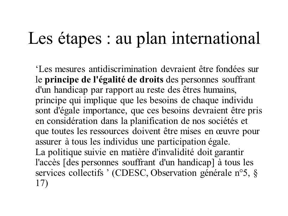 Les étapes : au plan international