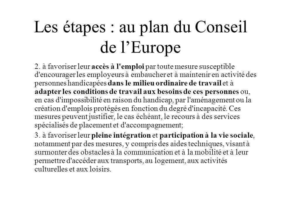Les étapes : au plan du Conseil de l'Europe