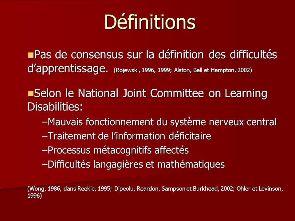 Définitions Pas de consensus sur la définition des difficultés d'apprentissage. (Rojewski, 1996, 1999; Alston, Bell et Hampton, 2002)