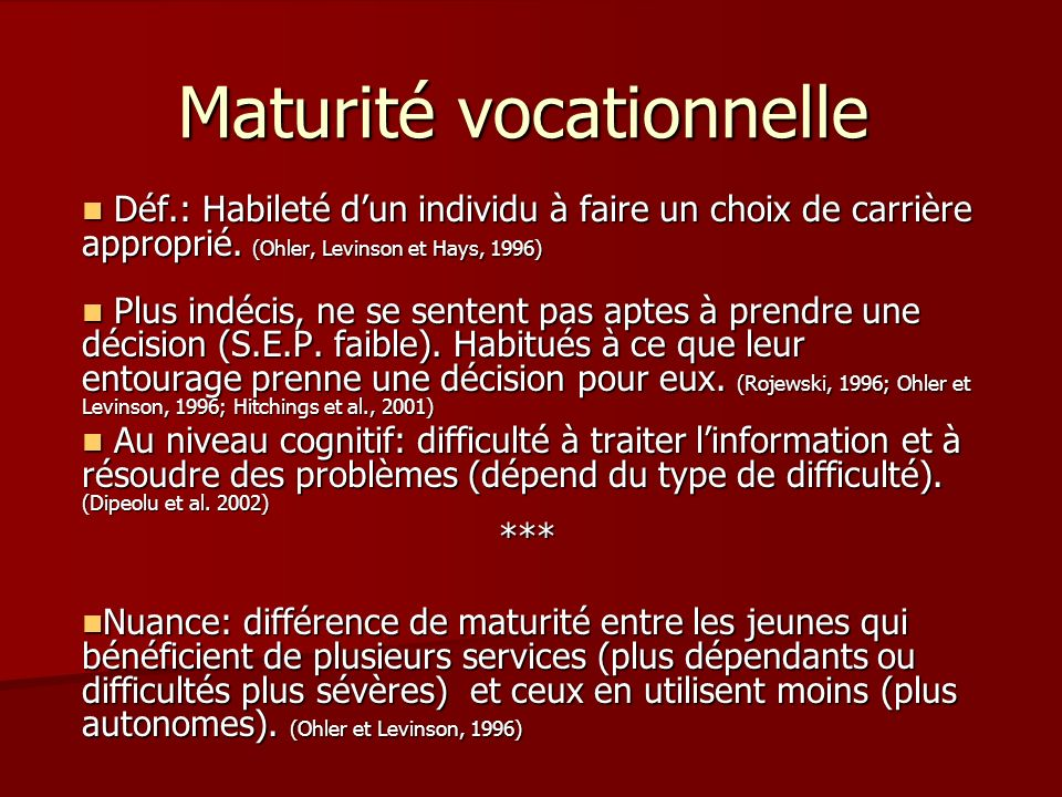 Maturité vocationnelle