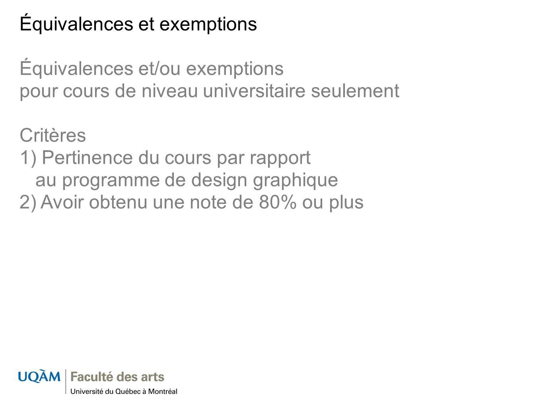Équivalences et exemptions