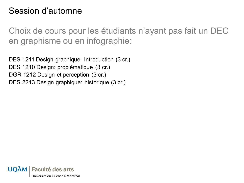 Session d'automne Choix de cours pour les étudiants n'ayant pas fait un DEC en graphisme ou en infographie: