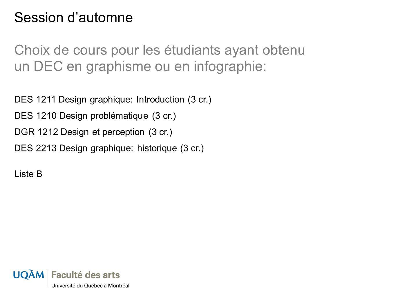 Session d'automne Choix de cours pour les étudiants ayant obtenu un DEC en graphisme ou en infographie: