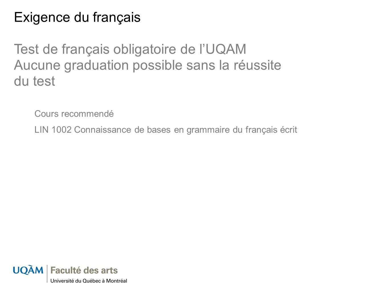 Test de français obligatoire de l'UQAM