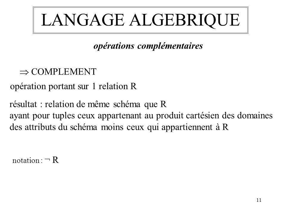 LANGAGE ALGEBRIQUE opérations complémentaires  COMPLEMENT