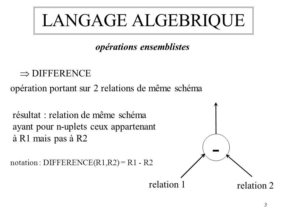 - LANGAGE ALGEBRIQUE opérations ensemblistes  DIFFERENCE