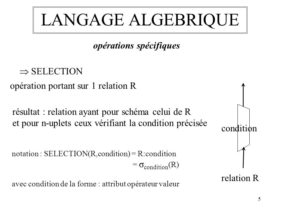 LANGAGE ALGEBRIQUE opérations spécifiques  SELECTION