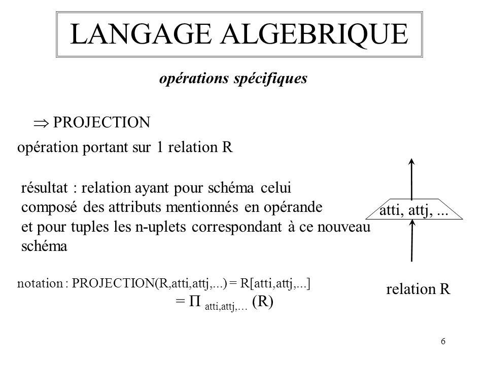LANGAGE ALGEBRIQUE opérations spécifiques  PROJECTION
